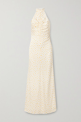 STAUD Coastal Ruched Fil Coupe Georgette Halterneck Maxi Dress - Off-white