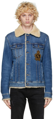 Dolce & Gabbana Blue Denim Shearling Jacket