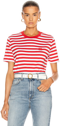 Acne Studios Ellison Stripe Face T-Shirt in Cherry Red | FWRD