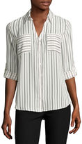 BY AND BY by&by 3/4-Sleeve Striped Button-Up Woven Shirt