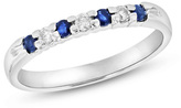 Zales Blue Sapphire and 1/10 CT. T.W. Diamond Seven Stone Wedding Band in 14K White Gold