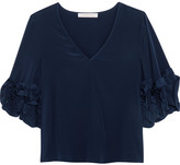 See by Chloe Ruffle-trimmed Silk Crepe De Chine Top - Navy