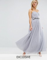 Little Mistress Bandeau Embellished Maxi Dress With Tulle Skirt