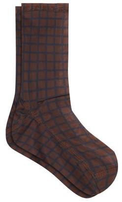 Darner Socks - Grid-print Mesh Ankle Socks - Womens - Navy