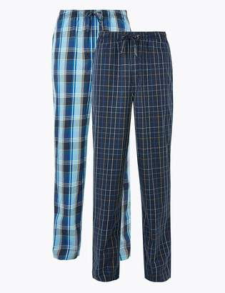M&S CollectionMarks and Spencer 2 Pack Pure Cotton Checked Pyjama Bottoms