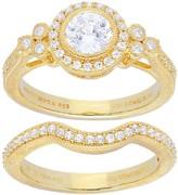 Judith Ripka Sterling & 14K Clad Set of 2 Diamonique Rings