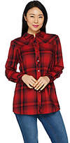 Denim & Co. Plaid Long Sleeve Button FrontCollared Shirt