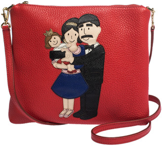 Dolce & Gabbana Red Leather Family Patch Crossbody Bag