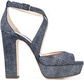 Jimmy Choo April 120 sandals - women - Cotton/Leather - 36.5