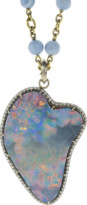 Sylva & Cie Large Opal and Round Brilliant Cut Diamond Pendant
