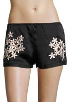 Natori Petals Silk Charmeuse Embroidered Shorts