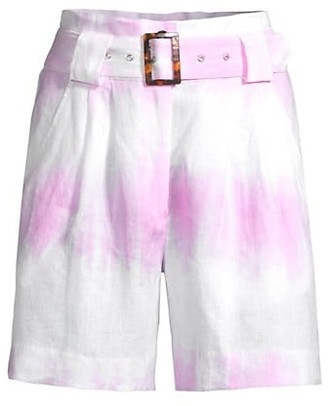Solid And Striped Tie Dye Linen Paperbag Waist Shorts