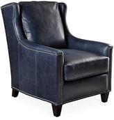 Varick Club Chair - Blue Leather - Massoud