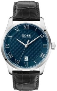 HUGO BOSS Leather Strap Watch With Textured Blue Dial