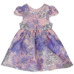 Rare Editions Baby Girls Burnout Organza Cap-Sleeve Dress
