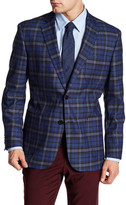 English Laundry Trim Fit Blue Plaid Two Button Notch Lapel Sport Coat