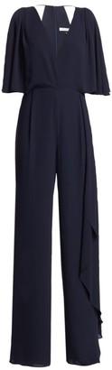 Halston Asymmetric Drape Georgette Jumpsuit