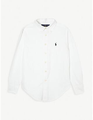 Ralph Lauren Boys White Custom Fit Long-Sleeve Shirt, Size: 10 Years