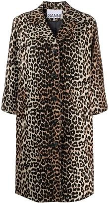 Ganni Leopard-Print Linen-Blend Coat