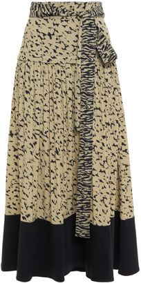 Proenza Schouler Belted Twill-paneled Gathered Printed Crepe Midi Skirt