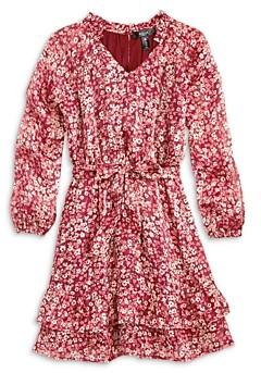 Aqua Girls' Metallic Floral Long Sleeve Tiered Dress, Big Kid - 100% Exclusive