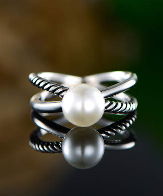Mother of Pearl Ben Stacy Women's Rings Silver/White - Mother-of-Pearl & Sterling Silver Crisscross Ring