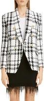 Balmain Double Breasted Check Tweed Jacket