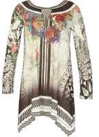 Dorothy Perkins Womens *Izabel London Multi Coloured Black Mesh Tunic- Black