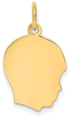 Curata 14k Yellow Gold Solid Polished Engravable Plain Med .018 Gauge Facing Right Boy Head Charm