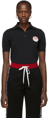 Miu Miu Black Logo Patch Polo