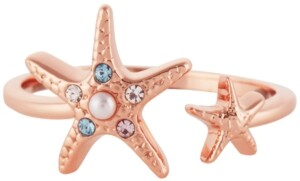 Olivia Burton Imitation Pearl & Swarovski Crystal Starfish Cuff Ring in Rose Gold-Plated Brass