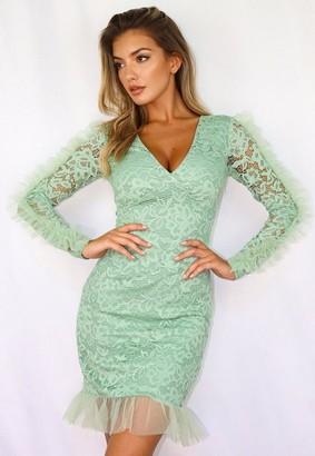 Missguided Lace V Neck Frill Hem Mini Dress