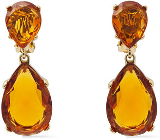 Kenneth Jay Lane Gold-tone Crystal Clip Earrings