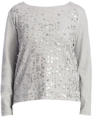 Joan Vass, Plus Size Champange Pink Sequin Top