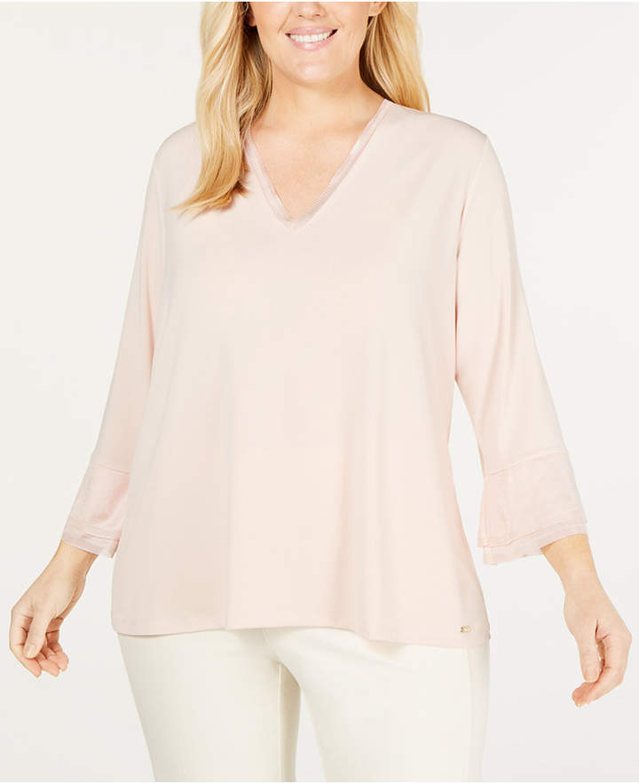 68bbb9d79fba96 Calvin Klein Pink Plus Size Tops - ShopStyle