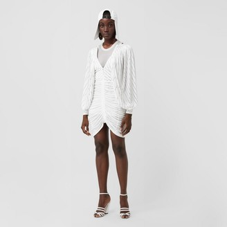 Burberry Crystal Pinstriped Ruched Jersey Dress