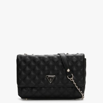 GUESS Cessily Convertible Flap Black Quilted Shoulder Bag