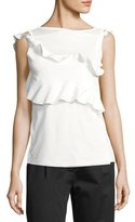 Carven High-Neck Ruffled Cotton Tank