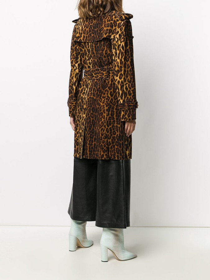 Thumbnail for your product : Norma Kamali Leopard-Print Belted Coat