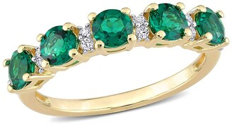 Delmar Yellow Gold Plated Sterling Silver Round Cut Emerald & Created White Sapphire Eternity Ring