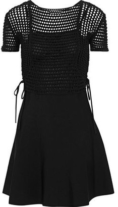 RED Valentino Lace-up Crochet And Stretch-knit Cotton Mini Dress