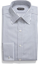 Tom Ford HD Striped French Cuff Dress Shirt, Gray