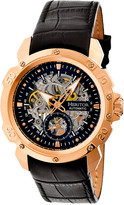 Heritor Automatic Men's Watches Rose - Rose Goldtone & Black Conrad Leather-Band Skeleton Watch