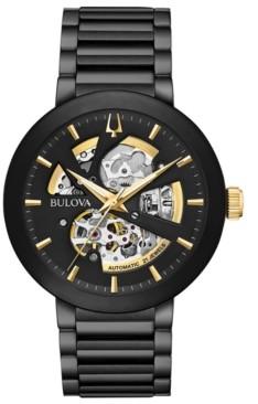 Bulova Men's Futuro Black Stainless Steel Bracelet Watch 42mm