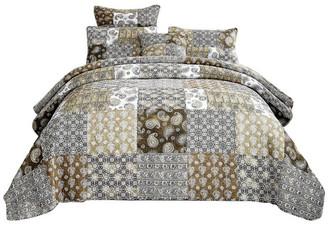 Dada Bedding Collection Bohemian Patchwork Moroccan Paisley Chocolate Dreams Bedspread Set, Ca