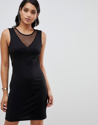 Y.A.S YAS Sassy bodycon mini dress with mesh panels