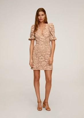 MANGO Puffed sleeves lace dress beige - 2 - Women