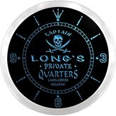 AdvPro Clock ncpw1086-b LONG'S Private Quarters Pirate Man Cave Bar Beer LED Neon Sign Wall Clock