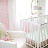 My Baby Sam Pixie Baby Bumper Less Crib Sheet, Pink and Green by