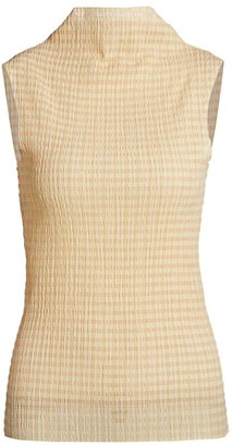 Rosetta Getty Sleeveless Shirred Mockneck Top